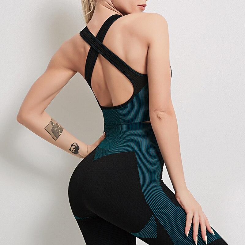 Normov casual mulher sutiãs de fitness sem costas strapless cruz listrado impressão poliéster roupa interior sem costura push up sutiãs magros