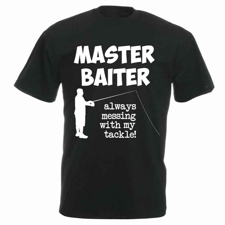 Funny Fishing T-Shirt MASTER BAITER Fisherman Angler Mens Joke Tee Graphic Tee Tshirt