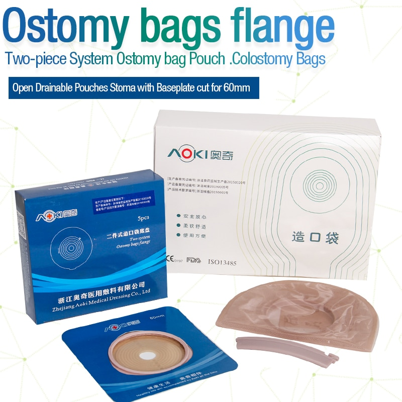10 PCS One-piece System Colostomy Bag Medical Disposable Stoma Care Bags Cut-to Fit 20-60mm Ostomy Bag with Carbon Filter
