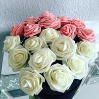 Bouquets de roses artificielles en mousse PE  8cm  10 20 30 pieces  pour mariage  decoration de fete a domicile  fournitures