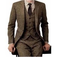 winter vintage latest coat designs brown tweed men formal wedding suits classic blazers 3 pieces jackervestpants tuxedos 2021