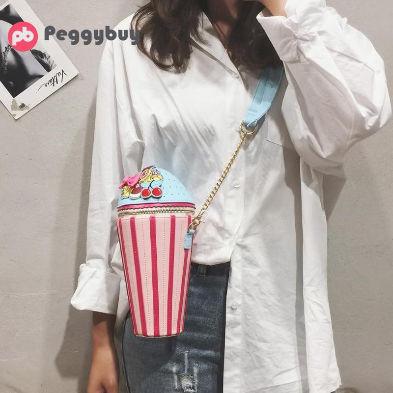 Bolsas cruzadas creativas para cupcakes en forma de helado para mujer, bolso de hombro, bandolera de moda para chicas adolescentes, Bolsa de viaje