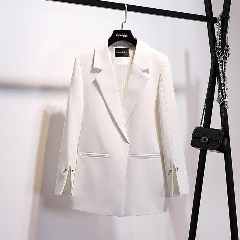 Chaqueta de mujer rosa blanco Blazer ropa de mujer 2020 coreano Vintage primavera otoño traje Tops OL Casual prendas de vestir abrigos ZT2290