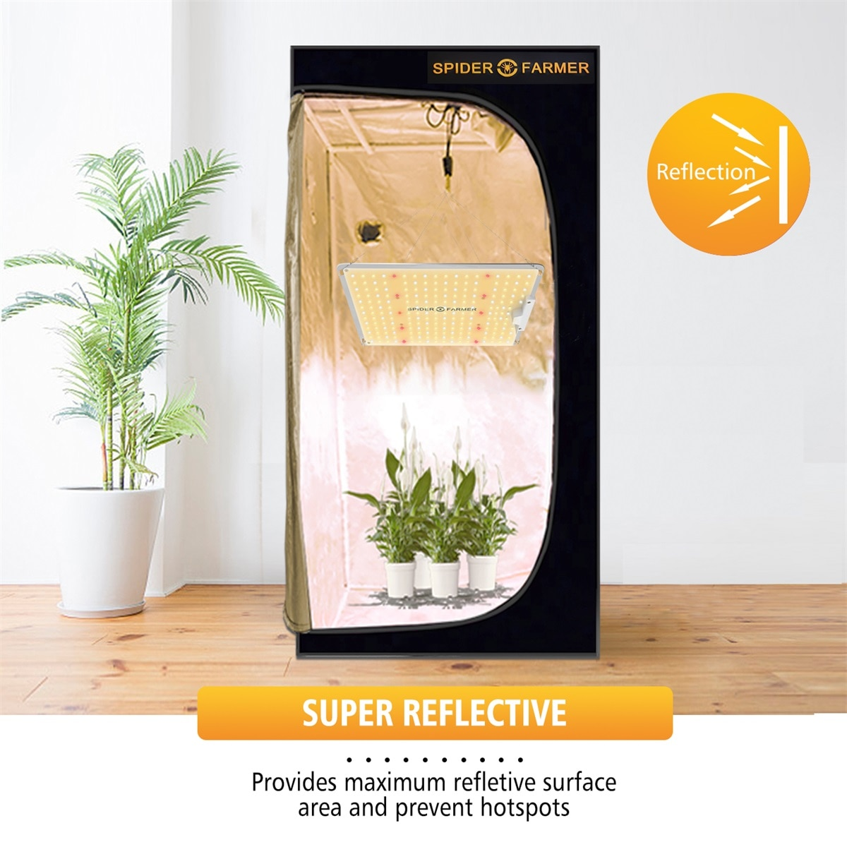 Spider Farmer 60x60 CM Grow Tent Indoor Home Hydroponic Box 100% Reflective Aluminum Oxford Cloth Greenhouse For Growing Lamps enlarge