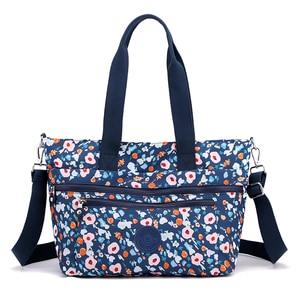 Flower Printed Casual Shoulder Bag Women's Large Waterproof Nylon Cloth Bag Female Big Fabric Bags for Women 2021 Handbag Ladies