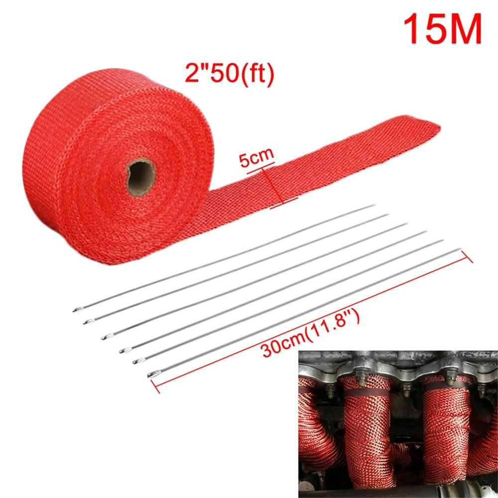1,5mm * 50mm * 15m rollo de fibra de vidrio cabeza de escape cinta de envoltura de calor de fibra de vidrio con 6 lazos Kit de escape colectores proveedores 1.5mm *