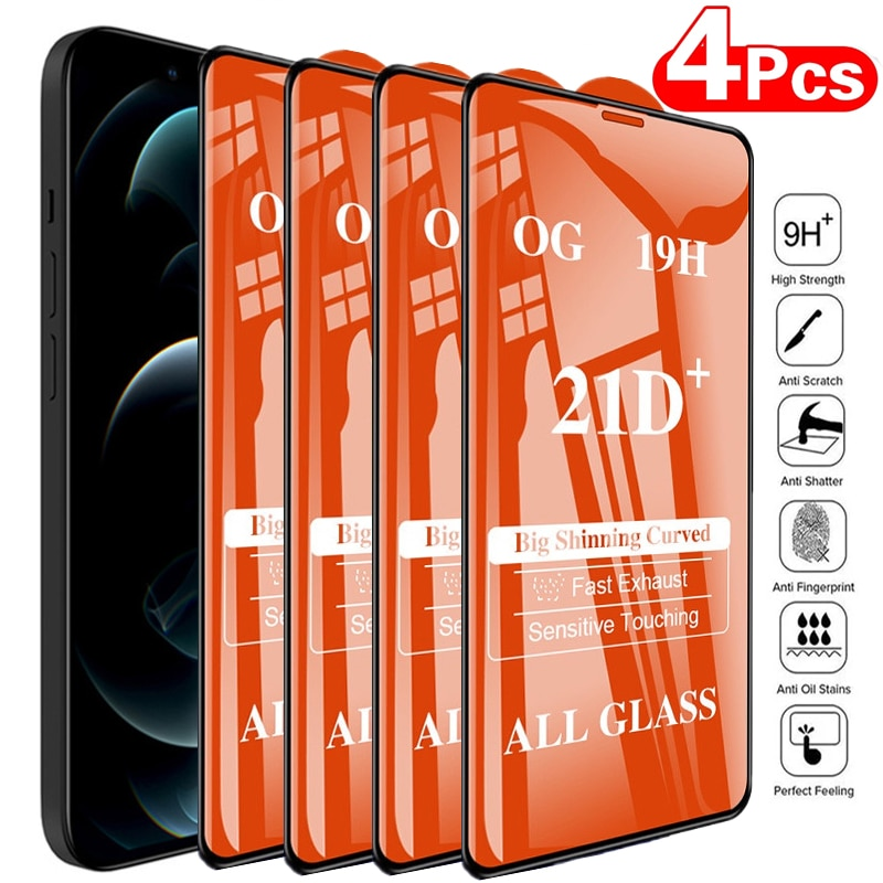 1-4Pcs 21D Tempered Glass for IPhone 12 11 13 Pro Max Screen Protectors for IPhone XS Max XR X 7 8 6S Plus SE Full Cover Glass
