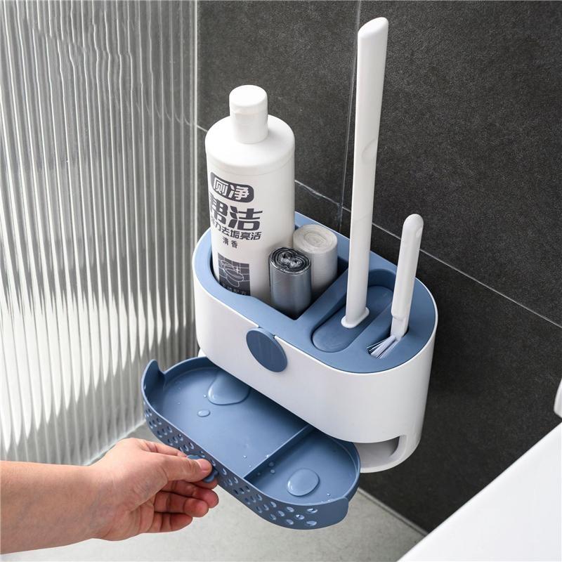 Spazzola per Wc per montaggio a parete testina in Silicone senza ciechi Wc spazzola per pulizia Wc Set di accessori per il bagno a scarico rapido