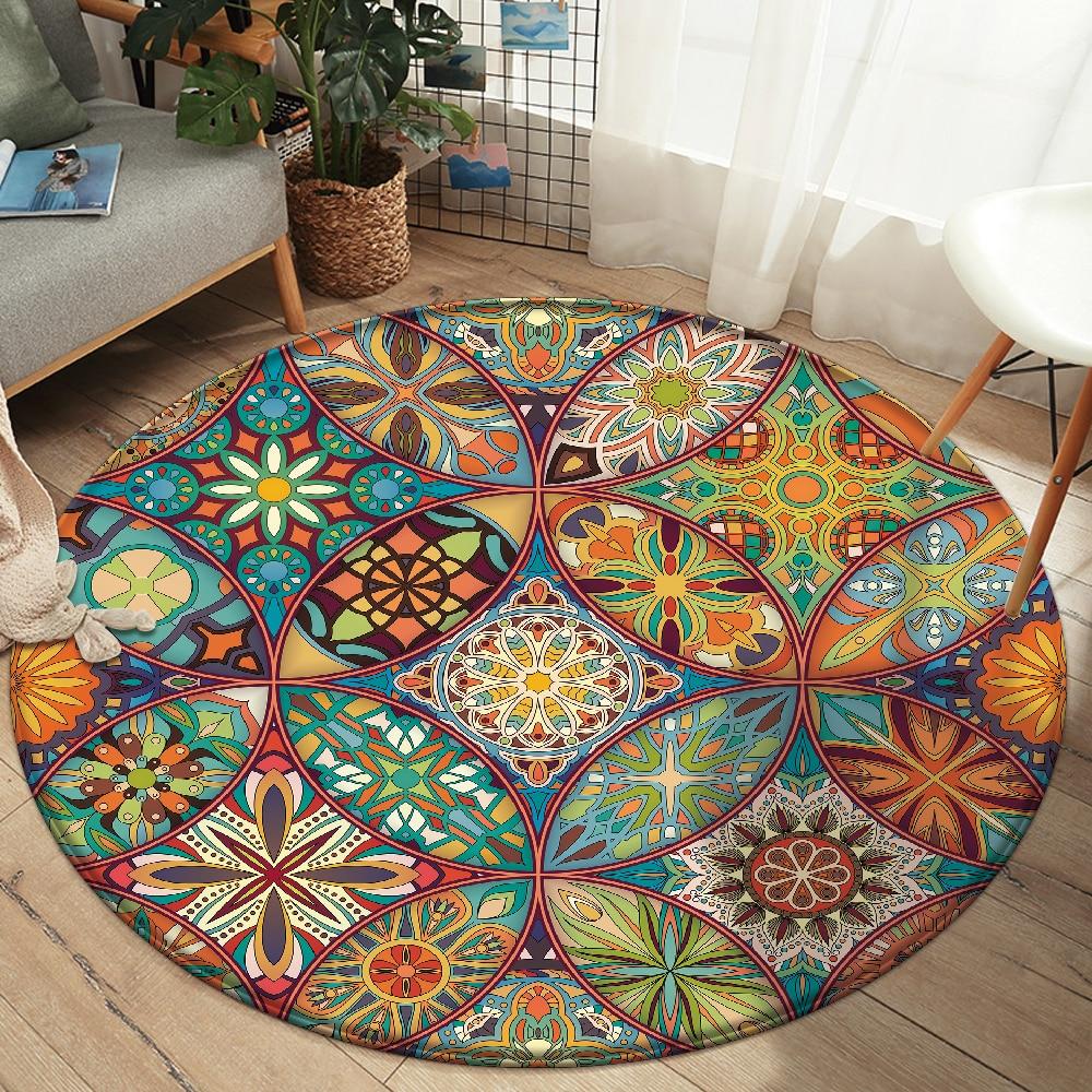 Alfombra antideslizante con diseño Floral para el hogar, tapete de estilo Mandala,...