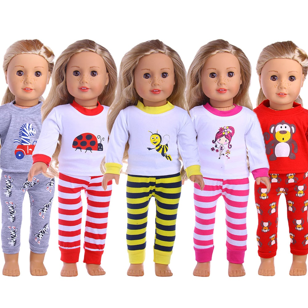 15 Styles Doll Pajamas & Nightgown Cute Pattern Fit 18 Inch American Doll & 43Cm Born Doll For Generation Accessories Girl's Toy doll accessories cute pajamas nightgown clothes for 18 inch american girl boy doll our generation
