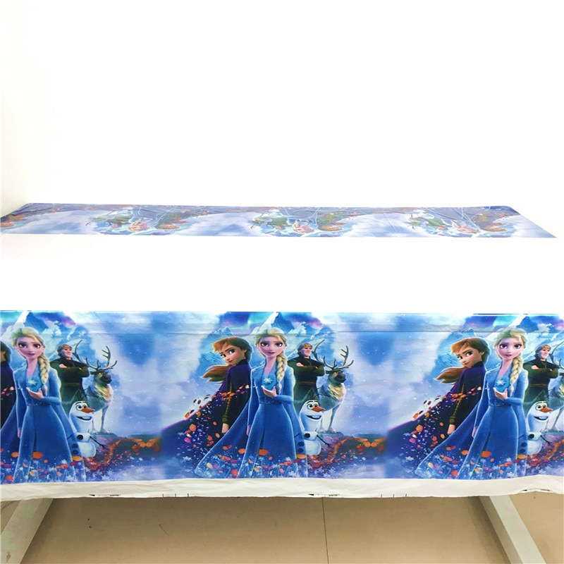 108*180cm Party Disposable Tablecloth Frozen 2 Birthday Party Table Cloth For Baby Girls Elsa Anna Princess Theme Table Cover
