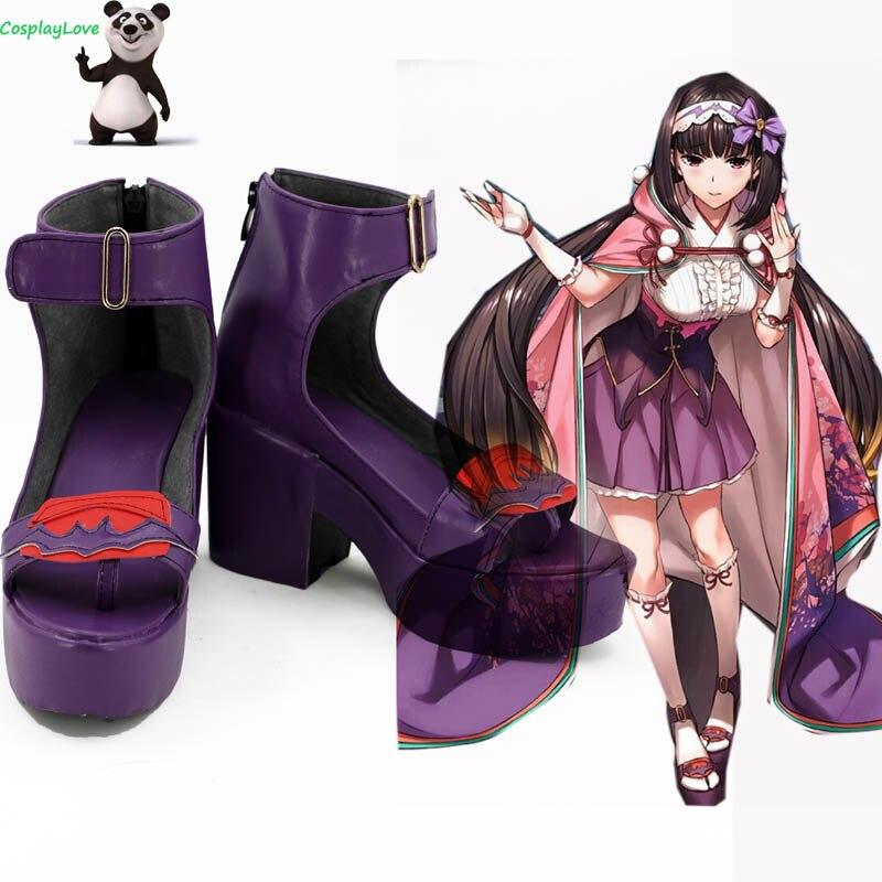 FGO, gran orden del destino, Assassin Osakabehime, zapatos de Cosplay púrpura, botas CosplayLove