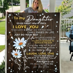 To My Daughter Never Forget How Much I Love You Soft Throw Plush Sherpa Fleece Blanket