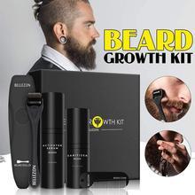 Bellezon 4 sztuk/zestaw zestaw do wzrostu brody wzmacniacz wzrostu włosów grubszy olej odżywczy esencja odżywka do włosów pielęgnacja brody z grzebieniem