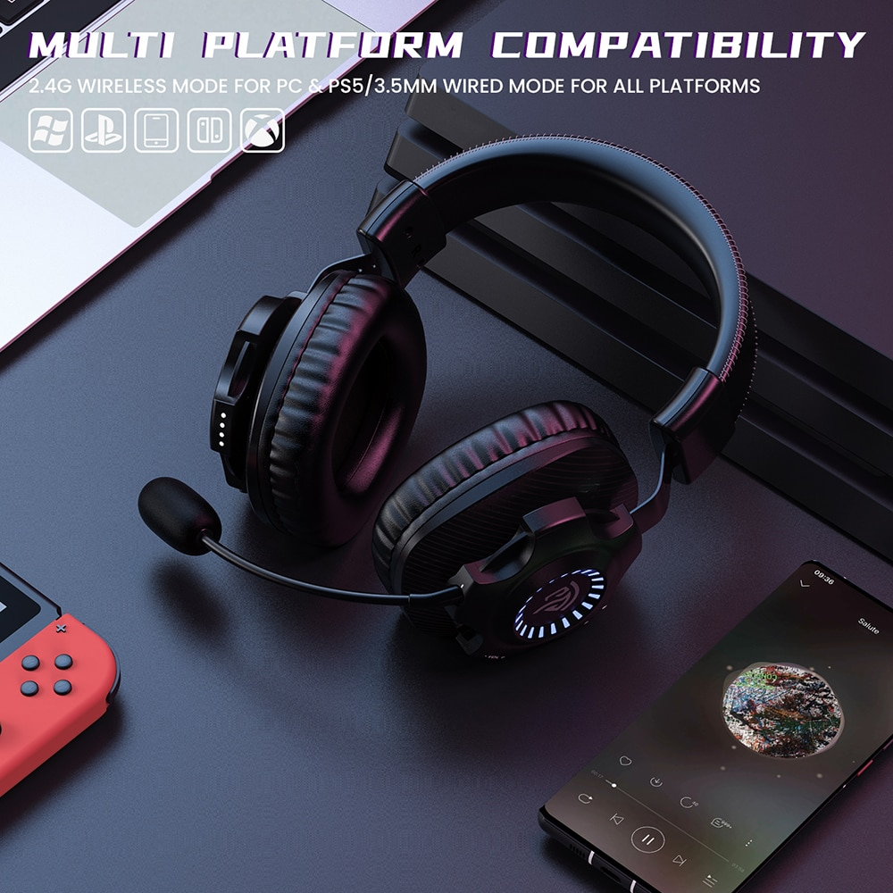 EasySMX V07W Wireless Headphone Gaming Headset with Microphone Virtual 7.1 RGB Stereo Noise Canceling Headphones For PC PS4 enlarge
