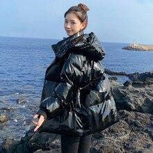 2020 übergröße frauen Mantel Winter Warm Glänzende Jacke Frauen Plus Größe Harajuku Oberbekleidung Lackiert Unten Jacke Frauen Parka MY309