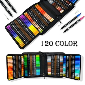 12-132 Colors Watercolor Pens , Fine Tip & Flexible Brush Pen Tip, Water Based Markers for Adult Coloring Manga Calligraphy
