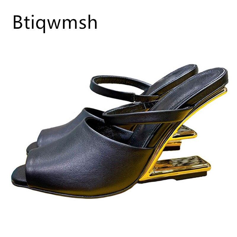 2021 غريبة عالية الكعب النعال امرأة جلد الثعبان لينة حقيقية الذهب معدن ديكور البغال أحذية سيدة مثير صنادل طراز جلاديتور