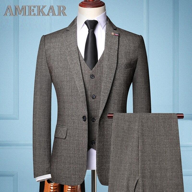 Brand Fashion Men 's Slim Fit Business Suit Men Fashion 3 Pieces Mens Blazers Tuxedos Suits Groom Best Wedding Suits