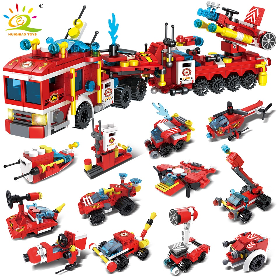 enlighten 970pcs fire rescue headquarters sation centre helicopter truck fireman assemble toy car building blocks toys HUIQIBAO 670pcs Fire Fighting Trucks Car Station Helicopter Boat Building Blocks City Rescue Firefighter Bricks Toys Children