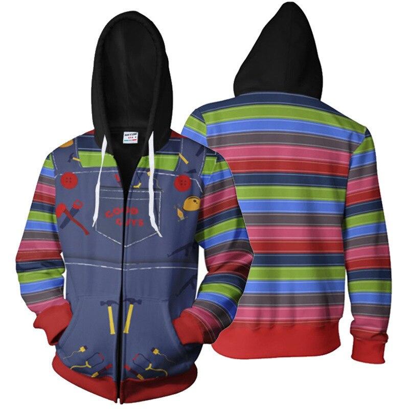 Disfraz de Halloween, sudadera con capucha de juego para niños chucky Cosplay, impresión Digital 3D, chaqueta informal con cremallera, sudadera