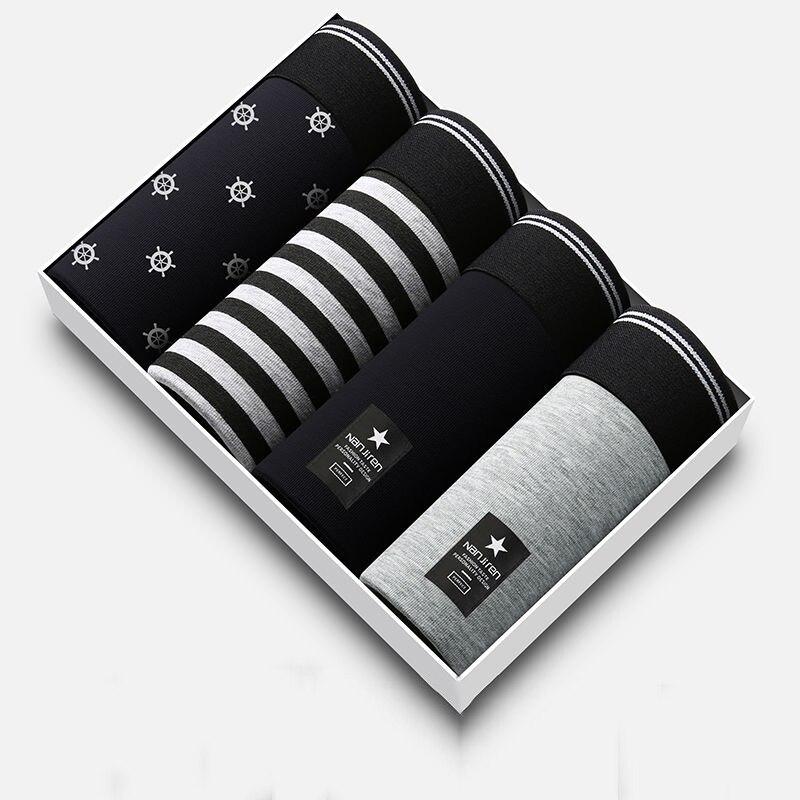 Мужские трусы-боксеры 4 шт./лот, мужское нижнее белье, боксеры, домашние брендовые шорты, трусы-боксеры, сексуальные мужские хлопковые трусы