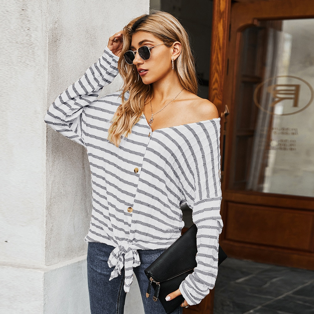 Women's Clothing 2021 Autumn and Winter Sweater Ladies Blouse Striped Knitwear enlarge