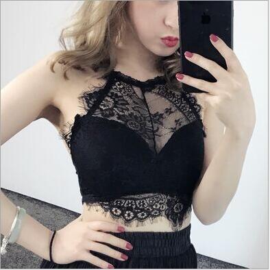 2020 New Fashion Women Black Sexy Push Up Lace Trim Bralette Semi-sheer Underwear Soft Nets Breathable Female Bras