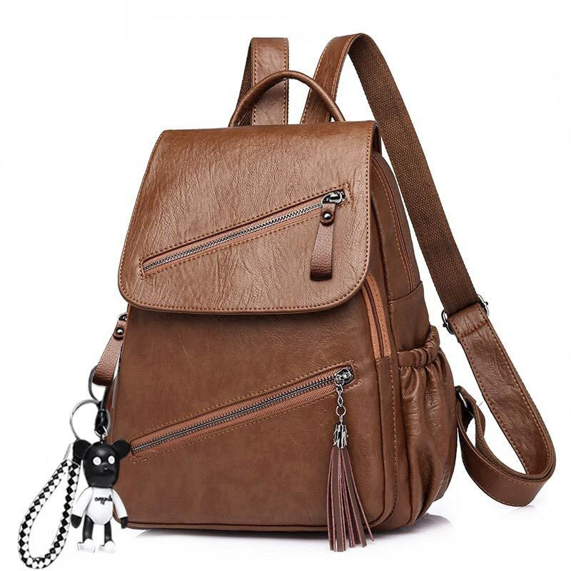 Vintage Tassel Pu Leather Multi-zip Clamshell Women Backpacks High Quality Soft School Bags High Capacity Designer Travel Bags