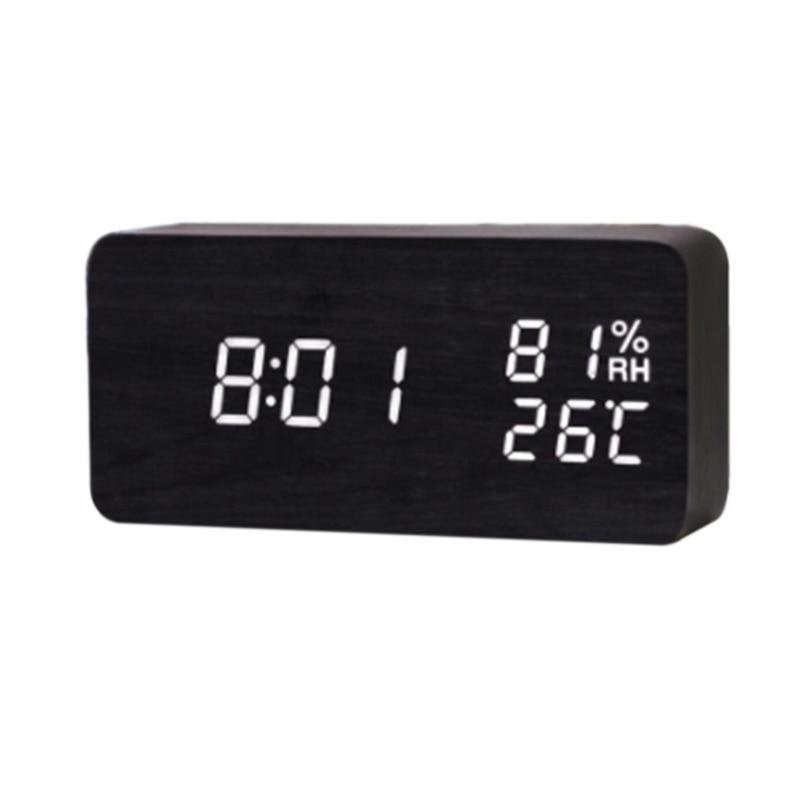 Двухмощные деревянные часы со светодиодным дисплеем деревянные будильники с датой/температурой/влажностью цифровые часы xyzTime