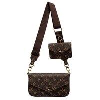 vintage printing handbag 3 in 1 fashion brand messenger bags for women pu leather crossbody bag lady small purse handbag totes
