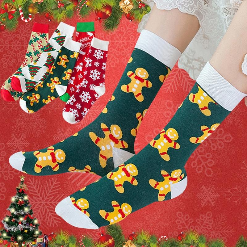Calcetines gruesos y cálidos con diseño de animales para hombre y mujer, medias divertidas con estampado de ciervo, árbol de Navidad, copo de nieve, regalo de Año Nuevo