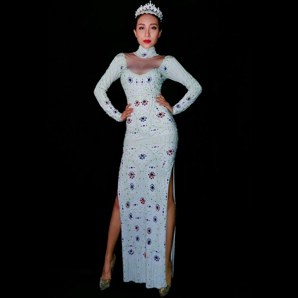 فستان ماكسي بأكمام طويلة بأحجار الراين سباركلي للسيدات ملابس راقصة للمغنيات فساتين سهرة لحفلات أعياد الميلاد للمشاهير