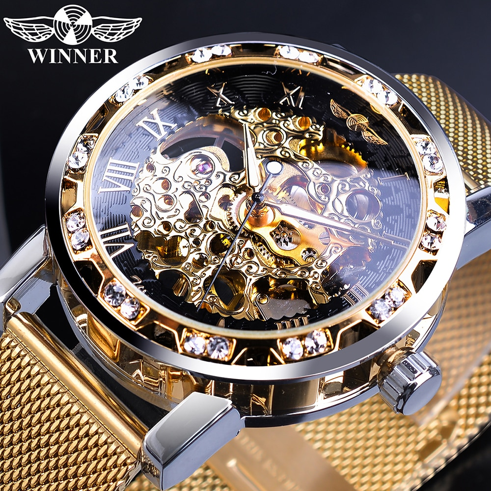 Winner-ساعات ذهبية للرجال ، ميكانيكية ، هيكل عظمي ، شبكي ، رفيع ، فولاذ مقاوم للصدأ ، ساعة يد ، ماركة فاخرة ، للرجال
