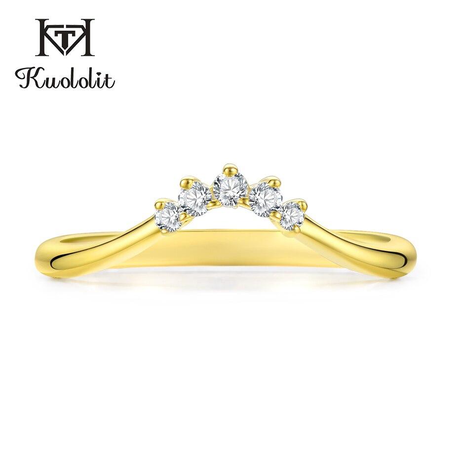 Kuololit 10K 옐로우 골드 여성용 Moissanite 링 Lab Grown Diamond 100% 핸드 세팅 밴드 링 약혼 선물 파인 쥬얼리
