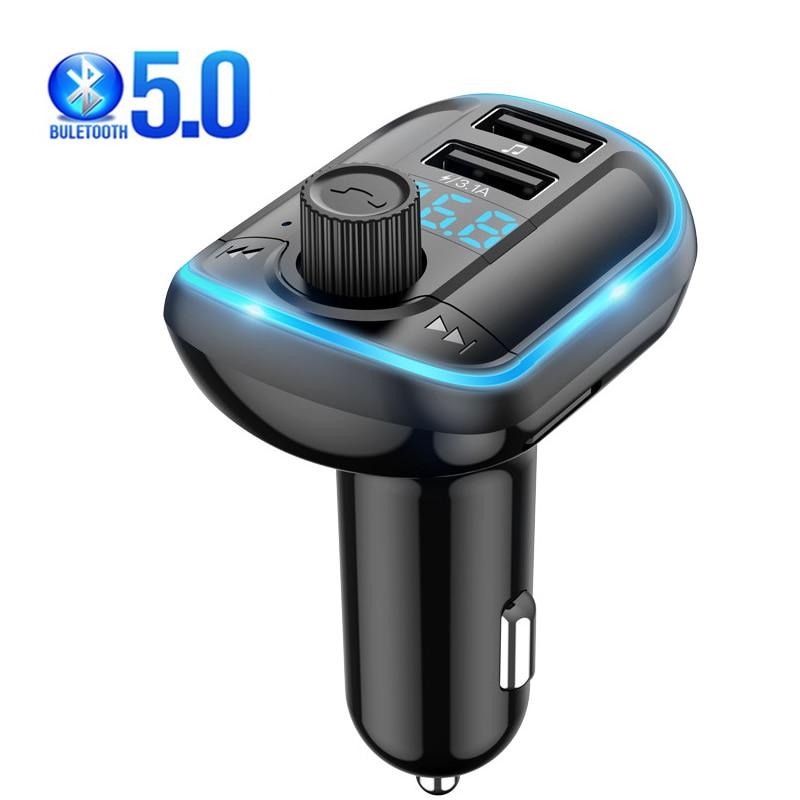 محول USB متعدد المنافذ شاحن سيارة لشحن هواتف آيفون 11 مع جهاز إرسال FM 5.0 عدة سيارة استقبال بلوتوث مشغل MP3 LED