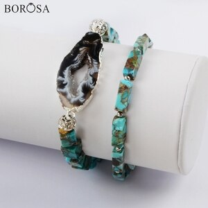 BOROSA 3/5Sets Silver Color Natural Onyx Agates Druzy Slice With Square & Rectangle Cooper Turquoises Beads Bracelet Sets G1825