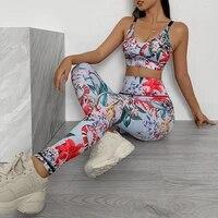 flower print gym set women workout clothes letter stripe yoga set 2019 early autumn fitness clothing women 2 piece workout sets