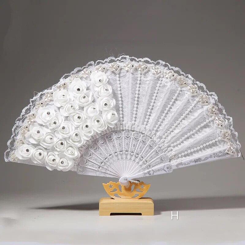 Abanicos de plumas Para Boda hechos a mano, ventilador de encaje blanco...