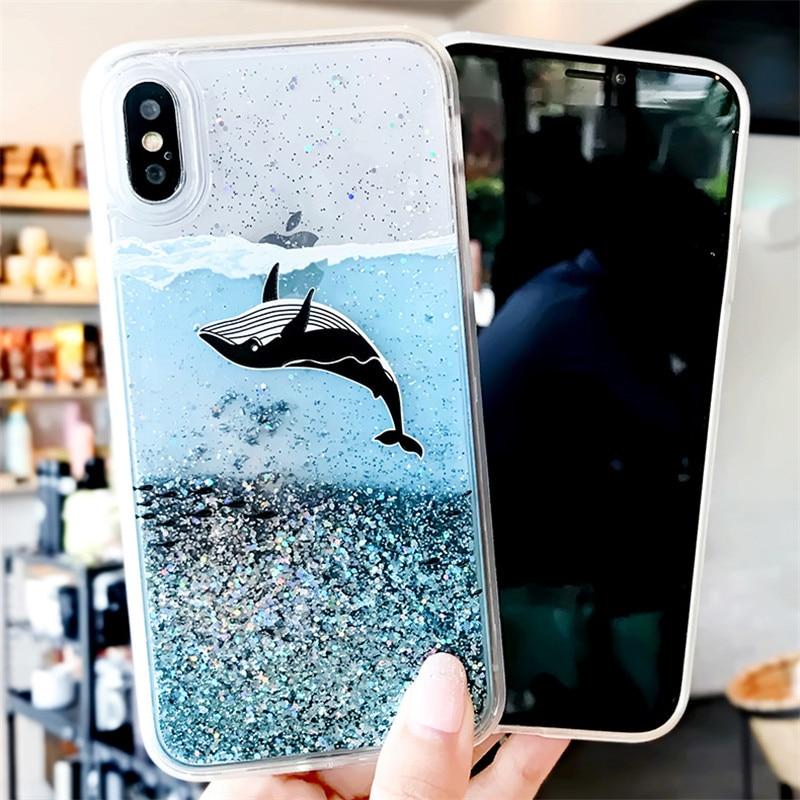 Oceano Baleia Caso Areia Movediça Para Samsung S9 S8 S7 S10 S20 S20 Plus Ultra A10 A20 A30 A40 A50 A70 A51 A71 J4 J6 Plus Azul Caso Areia