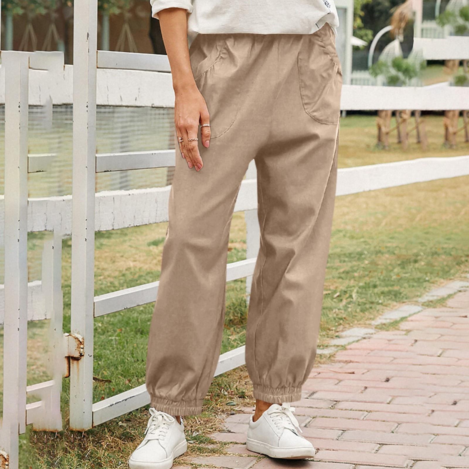 Женские повседневные брюки с карманами, женские уличные брюки с высокой талией, женские комбинезоны 2021 с эластичным поясом, брюки, Джоггеры ...