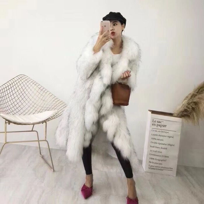 fur fur raccoon dog Korean woven Lapel windbreaker coat fox Ruffle fur imitation fur coat off season фото