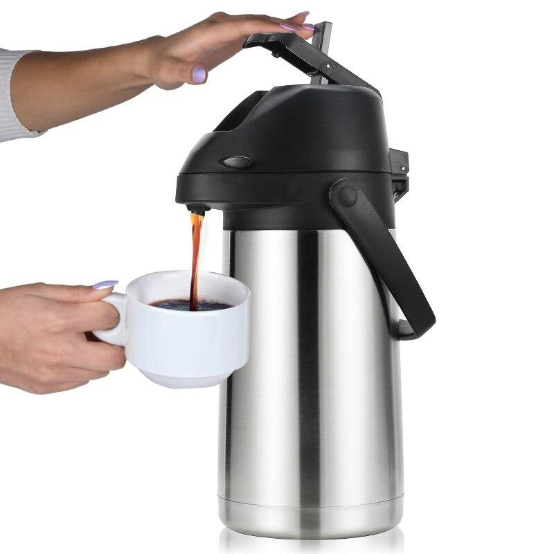 2.5L Airpot الحرارية Carafes فراغ ضغط أكواب عازلة للقهوة موزع مع مضخة ، للمياه المشروبات القهوة