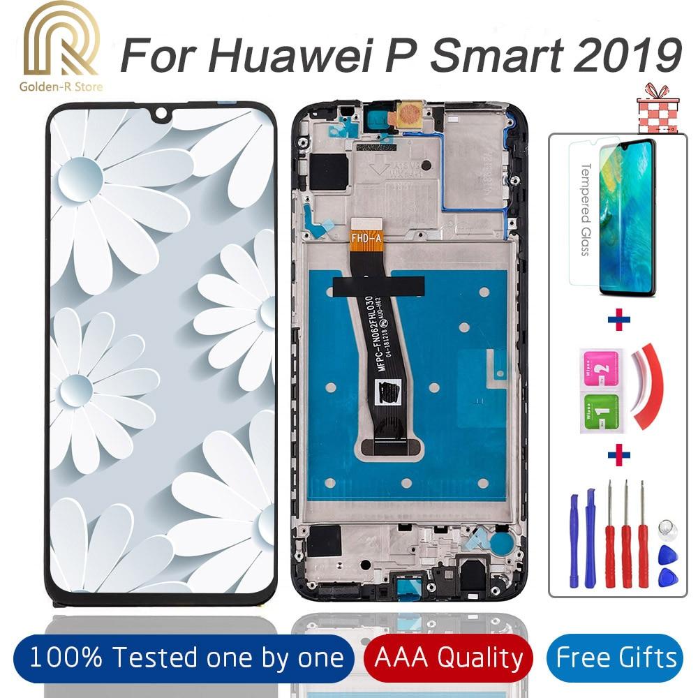 "LCD de 6,21 ""100% probado para Huawei P Smart 2019 LCD con pantalla LCD de marco para P Smart 2019 LCD pantalla POT-LX1 L21 LX3 + regalo"
