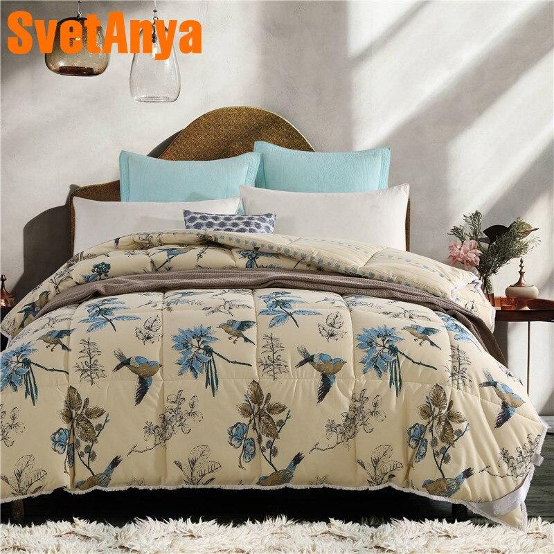 Svetanya thick Quilt Cotton Throws Blanket 200x230cm 3.2kg 150x200cm 2.1kg Bird Olive Branch Printed