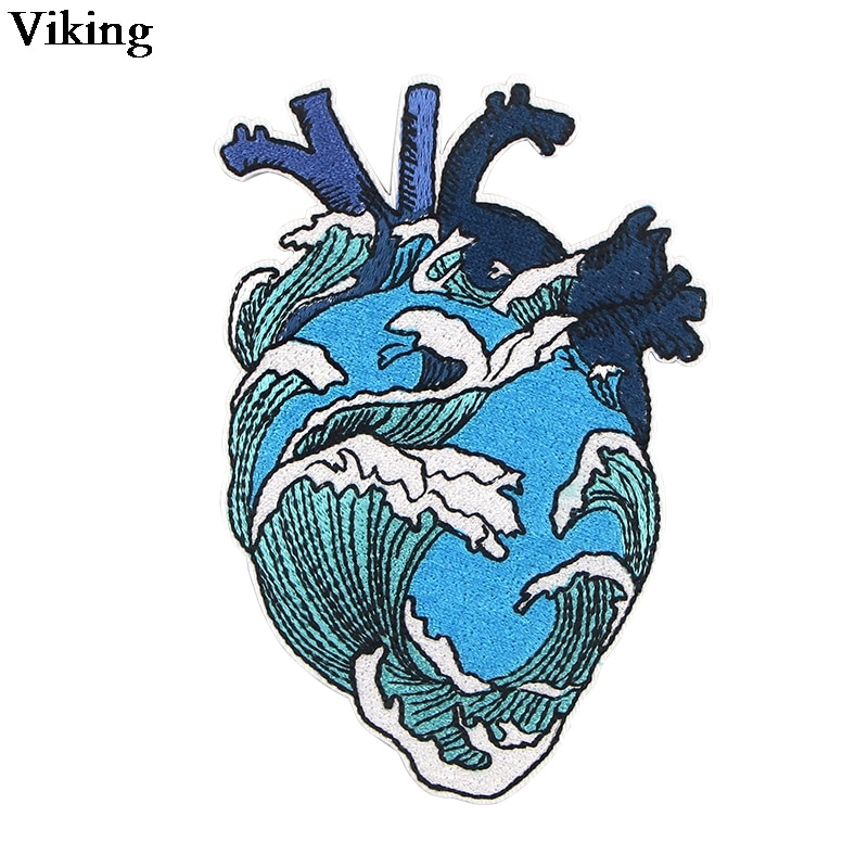 Parches con bordado de corazón ondulado, parche para coser a rayas, apliques Diy, chaqueta Original, insignia de falda, Parche de mochila genial G0752
