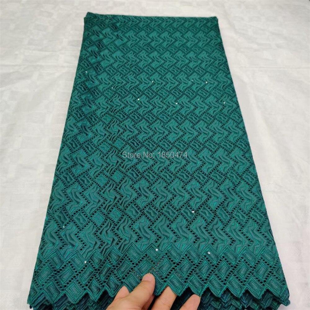 Verde de alta calidad ahueca hacia fuera el cordón de gasa suizo en Suiza algodón polaco vestido de tela de encaje para vestidos de novia telas africanas
