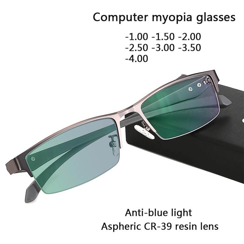 Gafas de miopía bloqueadas con luz azul, gafas para Gamer, montura de gafas para hombres y mujeres, gafas para miopía graduadas, 1-1,5-2