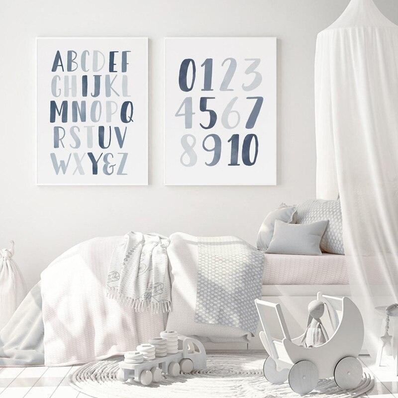 Pósteres e impresiones de alfabeto y números de animales para habitación de...