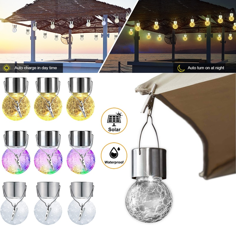 Outdoor Solar Crackle Glass Ball Lights Waterproof Bubble Lamp Solar String Light Hanging Light with Clip For Garden Fence Decor